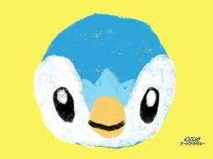なんか面白くて、またポケモン描いてみました。ポッチャマ? ペンギンみたいなポケモンです。
